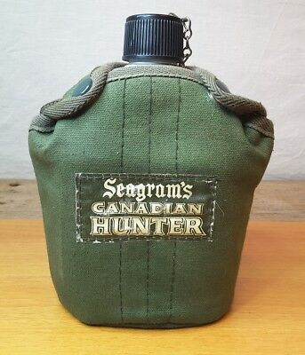 Vintage SEAGRAMS CANADIAN HUNTER Aluminum Canteen Insulated Cover Metal Insert