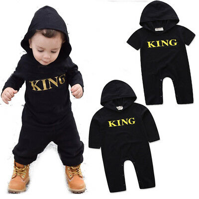 Newborn Kids Baby Boy King Infant Romper Jumpsuit Bodysuit Hooded Clothes Outfit