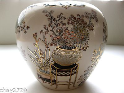 Vtg Ceramic Toyo Semi Round Vase Made In Japan W/gold Inlaid Flowers And Vases