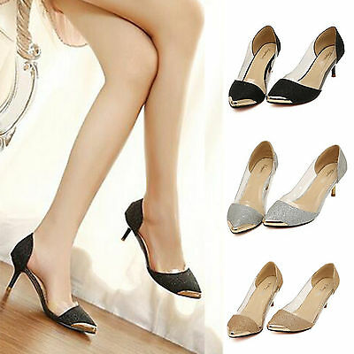 AU Womens Pointed Toe High Heel Smart Work Stiletto Prom Party Pumps Court Shoes