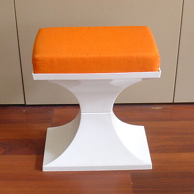 Tabouret pop années 70 orange et blanc. Made in Holland. Dutch design seventies.