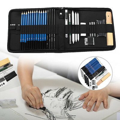 32pcs Drawing Sketch Set Charcoal Pencil Eraser for Art Craft Painting Sketching