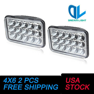 45W 4x6 CREE LED Headlights Sealed Beam HID Bulb Kenworth T800 T400 6000K 2 PCS