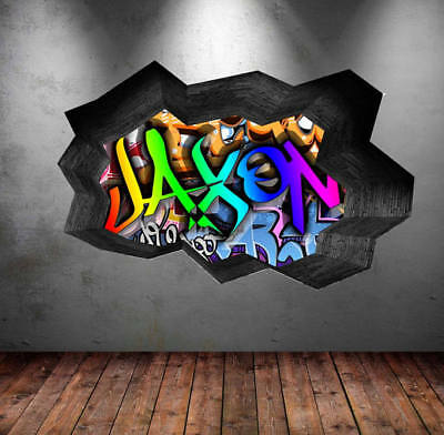 personalized graffiti name cracked 3d wall art sticker urban decal