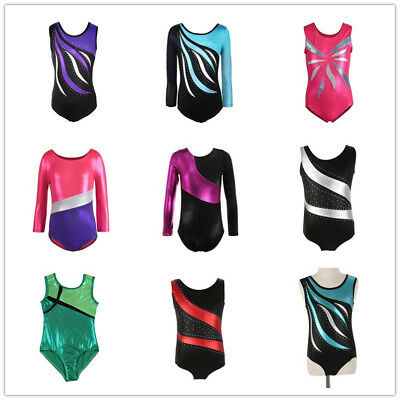 Kids Girls Gymnastics Leotards Bodysuits Skating Ballet Dancewear Costumes AU