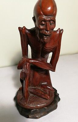 Vintage Chinese boxwood Wood carved small sculpture H15cm