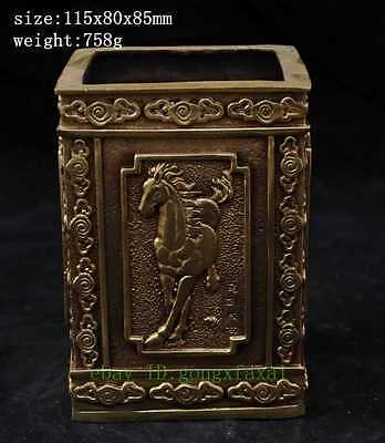 China old fengshui copper hand-carved success horse Stallion 雅韵 statue Brush Pot