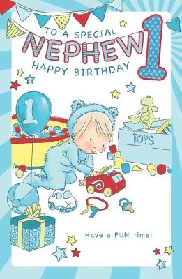 NEPHEW 1st BIRTHDAY CARD AGE 1 LARGE QUALITY ACTIVITY WITH LOVELY VERSE