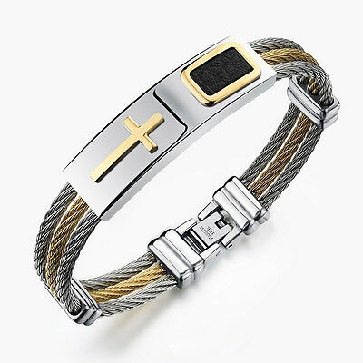 Vintage Men 3 Row Wire Cuff Bracelet Punk Stainless Steel Cross Bangle Wristband