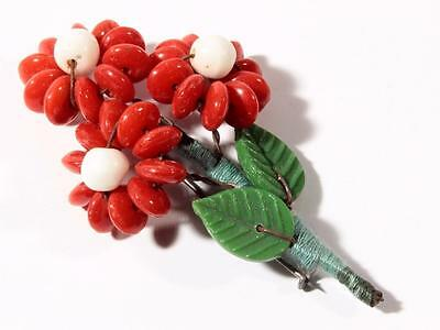 Czech Vintage red rondelle hand glass beaded flower leaf bouquet pin brooch