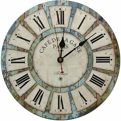 Deco Wall Clock Large Rustic Vintage Retro French Wooden Round and Silent
