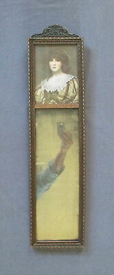 Small Vintage Hall Mirror with Victorian Portrait