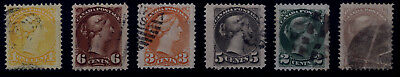 Canada Small Queens  - BIG JUMBO SIZE VARIETY - 6 Stamps - (Lot 11) Very Fine
