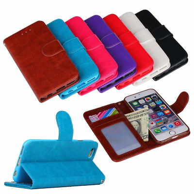 Retro Business Magnetic Flip Leather Wallet Card Holder Stand Case Cover For