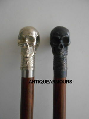 Combo 2 Skull Carved Wooden Cane Walking Stick Handmade Exclusive Vintage Vcf763