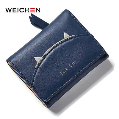 Short Wallet Female Coin Card Holder Zipper and Hasp Trifold Money Bag AU