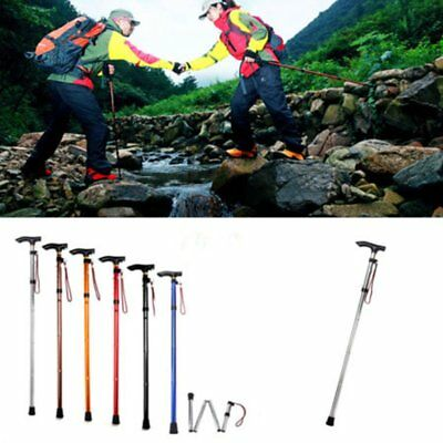 Adjustable Metal WALKING STICK Travel Cane Folding Pole Compact Retractable U2