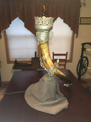 Large Antique Bavarian Drinking Horn Electrified Sconce Light - From Museum Sale