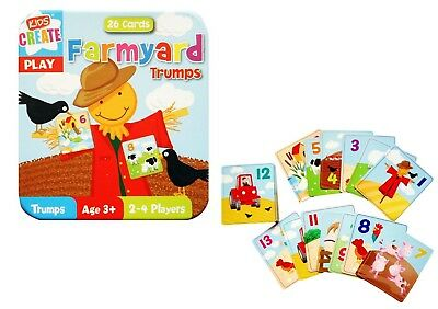 Kids Create Play Farmyard Trumps Cards Set (26 Cards) in Tin Case