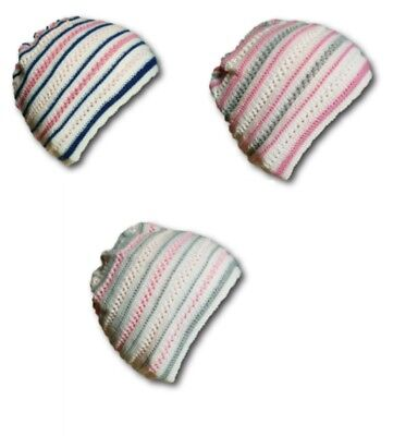 Newborn Baby Girl Beautiful Spring/Autumn Acrylic Stripy Hat Cap With 0-1 month