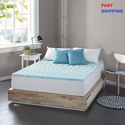 Cooling Gel Memory Foam Mattress Topper Pad Bed Cushion Zoned