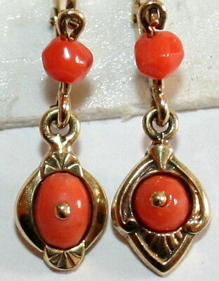 2 SINGLE ANTIQUE VICTORIAN 9K GOLD SALMON CORAL SMALL FINE DANGLE EARRINGS c1900