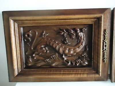 antique pair of wood panel door carved with dragon chimera gargoyle