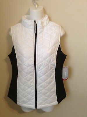 NWT Small Diamond Quilred Vest Black White Non-Puffy Exertek