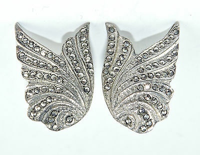 Antique Sterling Silver Marcasite Swirl Pair of Non Pierced EARRINGS  #EST552