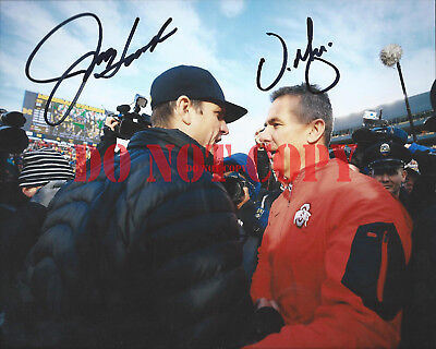 JIM HARBAUGH & URBAN MEYER Signed 8x10 Photo Michigan Ohio State Autographed RP