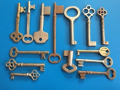 14 key Antique Mixed Lot  Skeleton vintage cabinet/dresser/door Keys