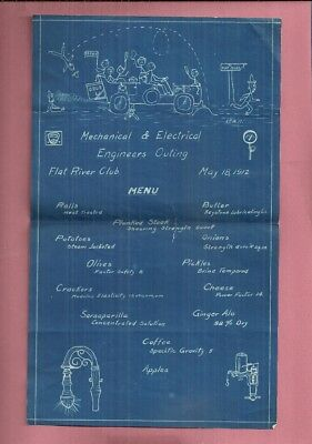 1912 Brown Mechanical & Electrical Engineers Outing Flat River Club Menu
