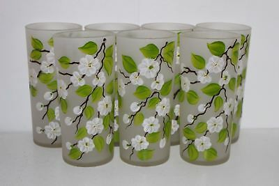 """7 Vintage Federal Hand Painted Orange/apple Blossom Frosted 6.25"""" Glass Tumblers"""