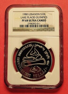 Lebanon -10 Livres Silver Proof Coin,winter Olympic 1980,graded By Ngc Pf 68