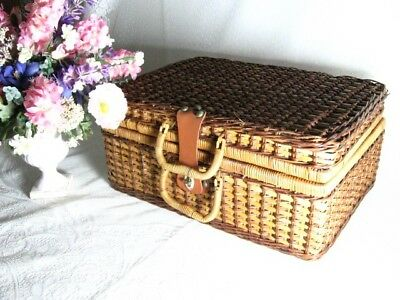 Picnic Basket Wicker Vintage Blue White Gingham Large Suitcase Style Picnic Food
