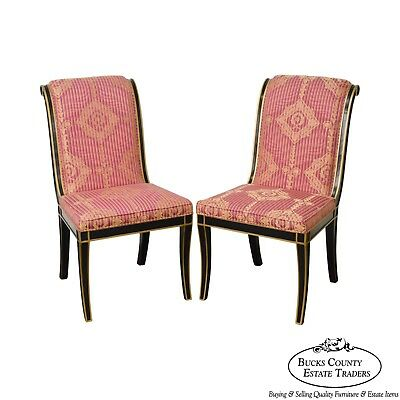 Regency Directoire Style Black & Gold Frame Upholstered Pair of Side Chairs