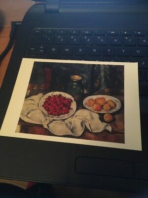 Vtg Postcard: Still life with Cherries and Peaches,Paul Cezanne