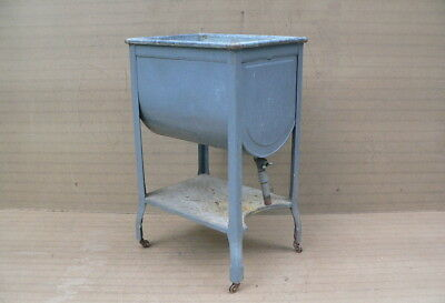 Vtg Antique Old Metal Wash Tub on Stand plant stand garden planter  #2