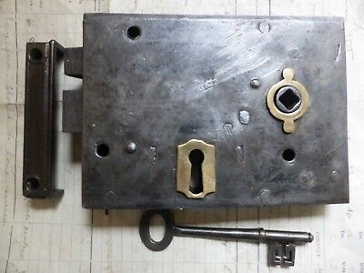 "Antique Victorian 6"" x 4 1/4"" Iron & Brass Door Rim Lock Key & Keep Night latch"
