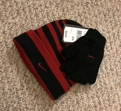 Nike Boy's Knit 2 piece Hat and Gloves Set Cuff Beanie Youth NEW free shipping!