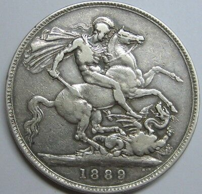 1889 Victoria 1 Crown Great Bretain Uk Silver Coin