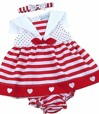 BabyPrem Baby Girls Dress Red Navy Hearts & Stripes Sailor Outfit 6-9m 9-12m 18m
