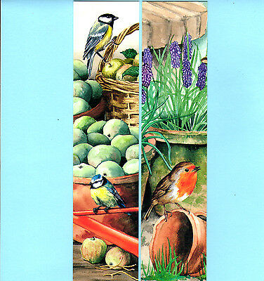 2x Bookmarks Robin Blue Tit Bird Lavender Apple Flower Birthday Gift Friend Lot