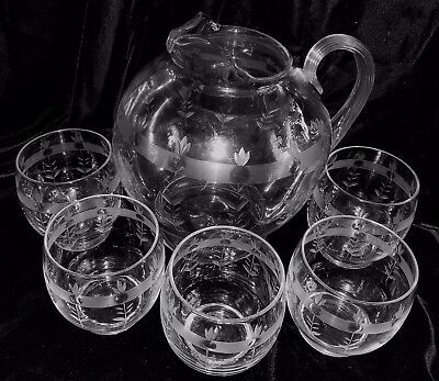 Gorgeous Vintage Needle /  Acid Etched Round Glass Pitcher & 5 Glasses