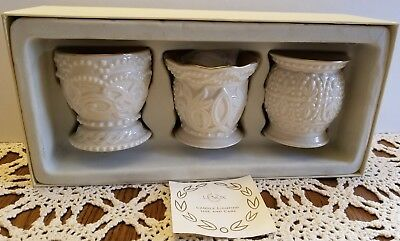 Lovely Set Of Three Lenox Fine China Classic Beaded Votive Candle Holders - Mint