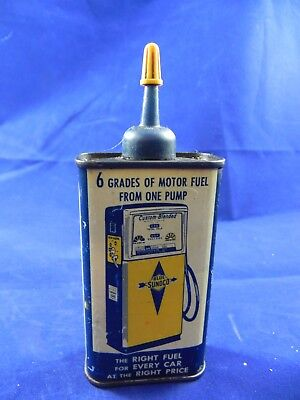 Sunoco Household Oil 4 Oz. Metal Can; Empty; Plastic Spout
