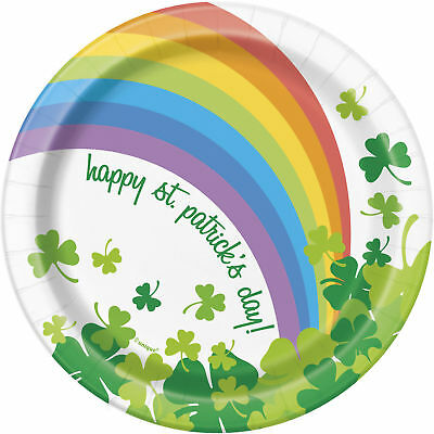 8 x Rainbow Shamrock St Patrick's Day Paper Plates 18cm Irish Party Tableware