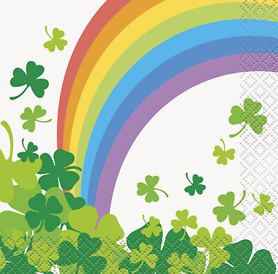 16 x Rainbow Shamrock St Patrick's Day Beverage Paper Napkins Party Tableware