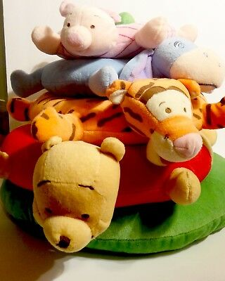 Disney Baby Winnie The Pooh Bear Tigger Eeyore Plush Ring Toss Stacking Toy 16""