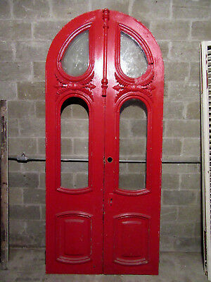 ~ Antique Carved Double Entrance French Doors  ~ 48X108 ~  Architectural Salvage